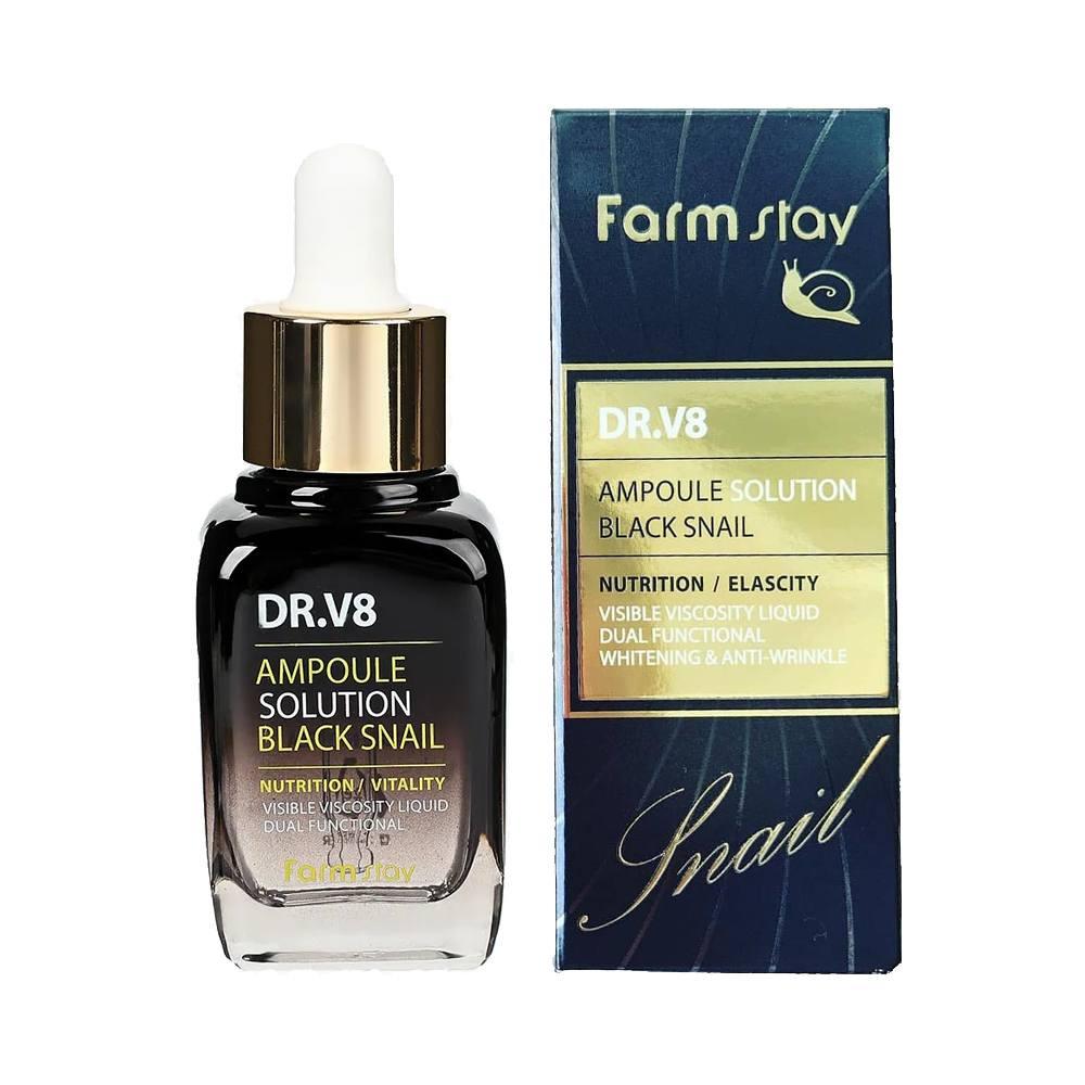 FarmStay сыворотка для лица ампульная Dr V8 Ampoule Solution Black Snail, 30 мл.