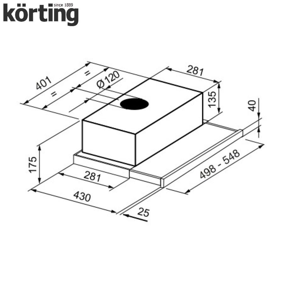 Вытяжка с выдвижным экраном Korting KHP 5211 W Korting