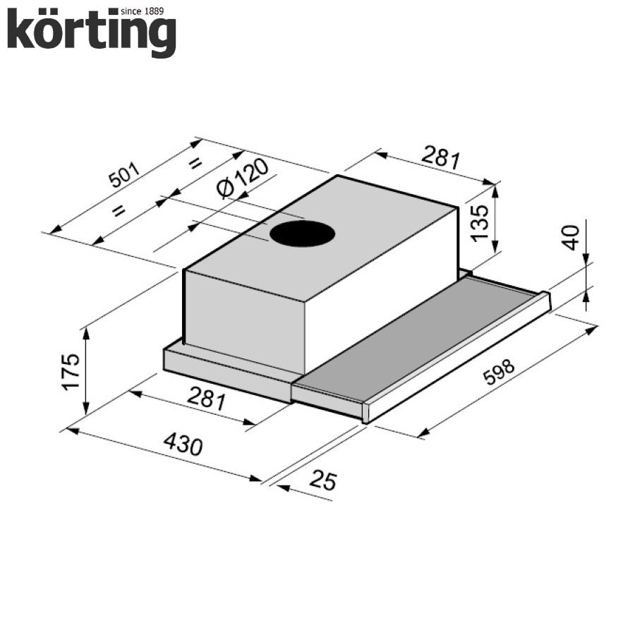 Вытяжка с выдвижным экраном Korting KHP 6211 B Korting