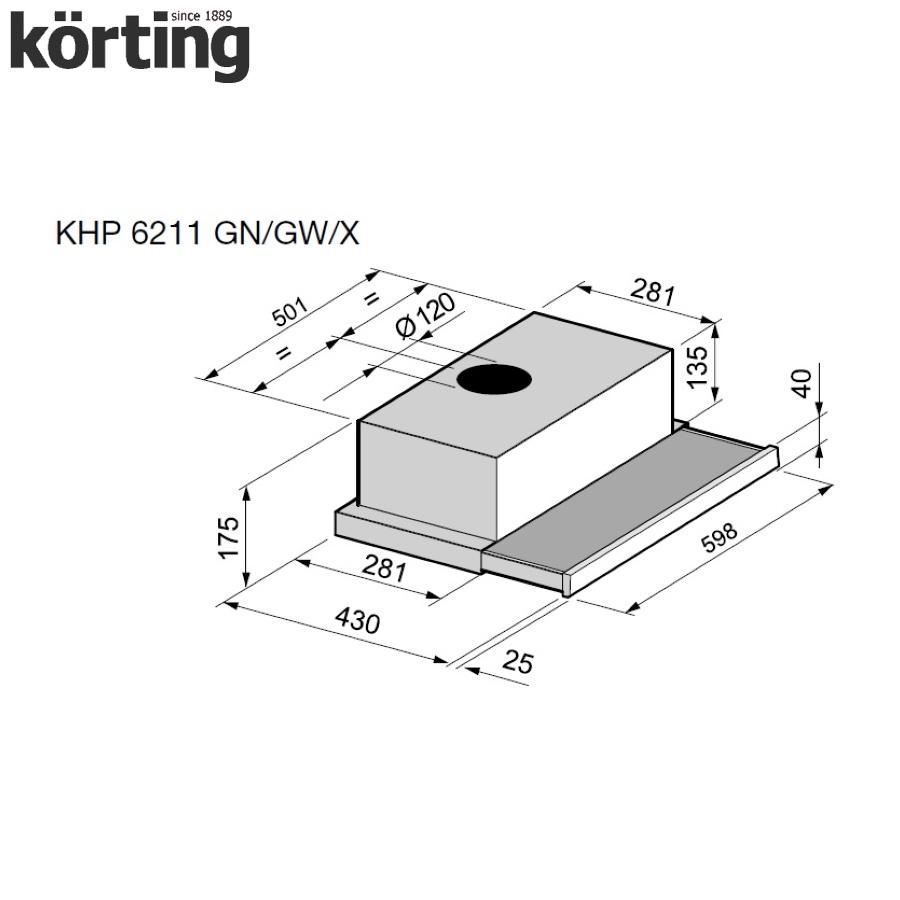 Вытяжка с выдвижным экраном Korting KHP 6211 X Kortex