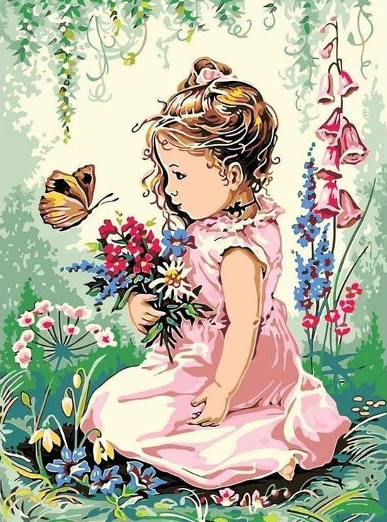 """Картина по номерам Цветной """"Девочка и бабочка"""" 30х40см"""