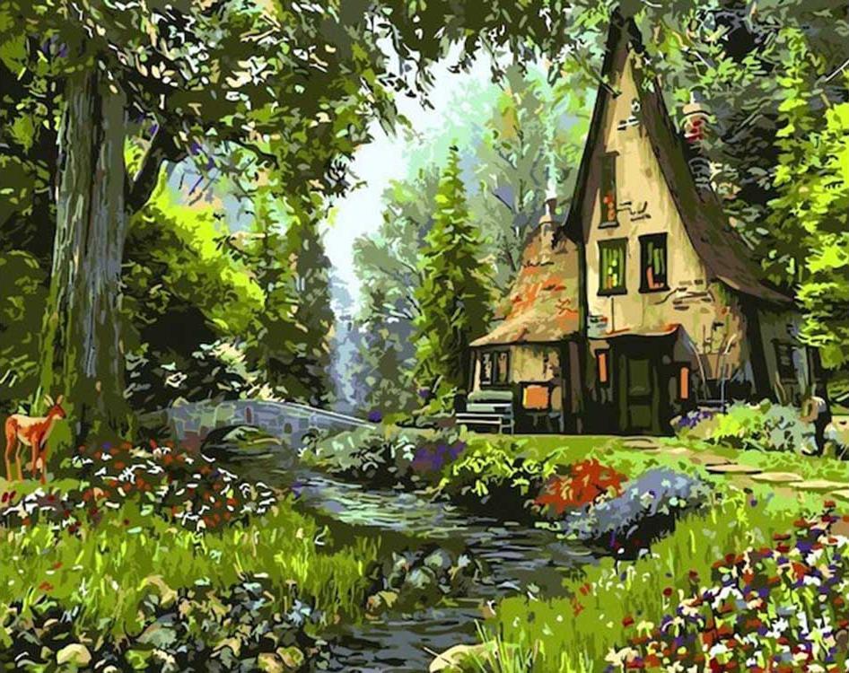 """Картина по номерам Цветной """"Домик в лесу"""" 40х50см"""