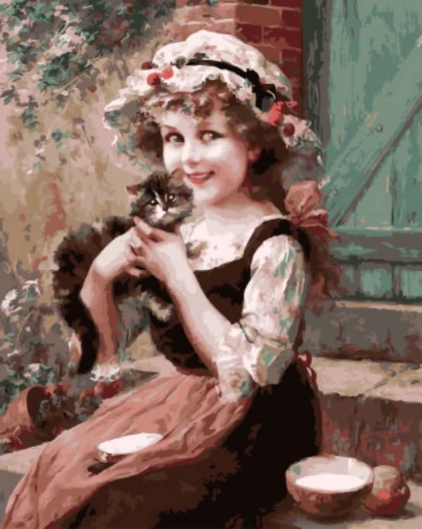 """Картина по номерам Цветной """"Девочка с котенком"""" 40х50см"""