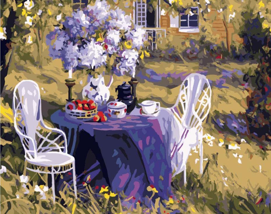 Картина по номерам Цветной Лиловое чаепитие 40х50см картина чаепитие