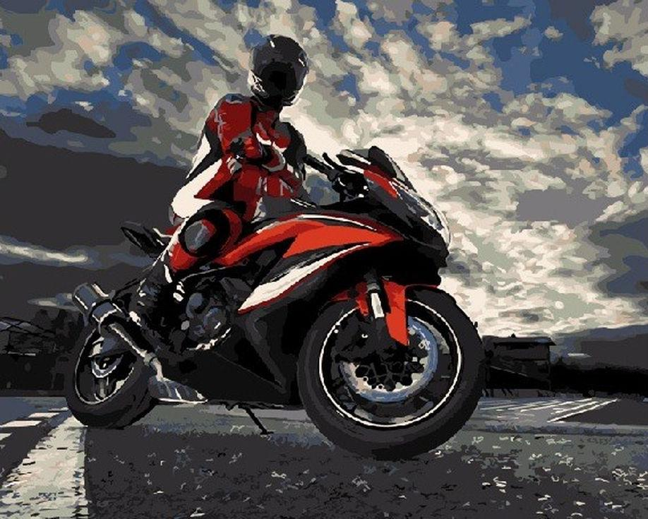 "Картина по номерам Цветной ""Мотоциклист"" 40х50см"