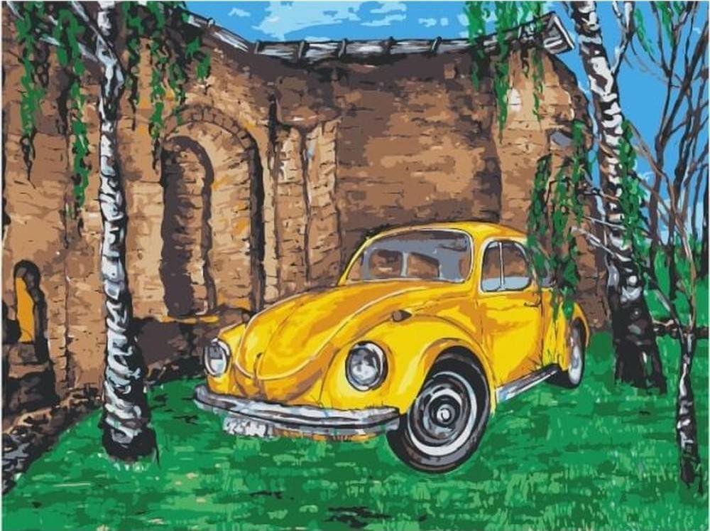 Картина по номерам Цветной Желтое авто среди берез 30х40см для продажи авто что нужно