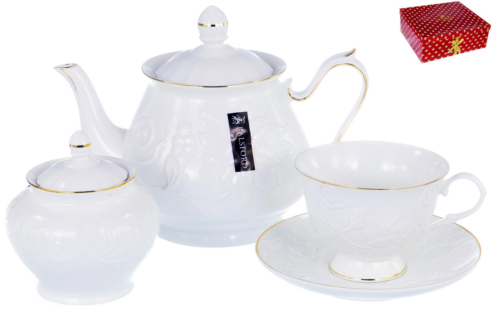 Набор чайный ГРАЦИЯ, серия Галатея, 6 чашек 220мл, 6 блюдец,чайник с крышкой 1000мл, сахарница с крышкой 400мл, NEW BONE CHINA, белый рельефный рисунок с золотом, прямоугольная подарочная упаковка с окном и бантом, ТМ Balsford, артикул 101-30013