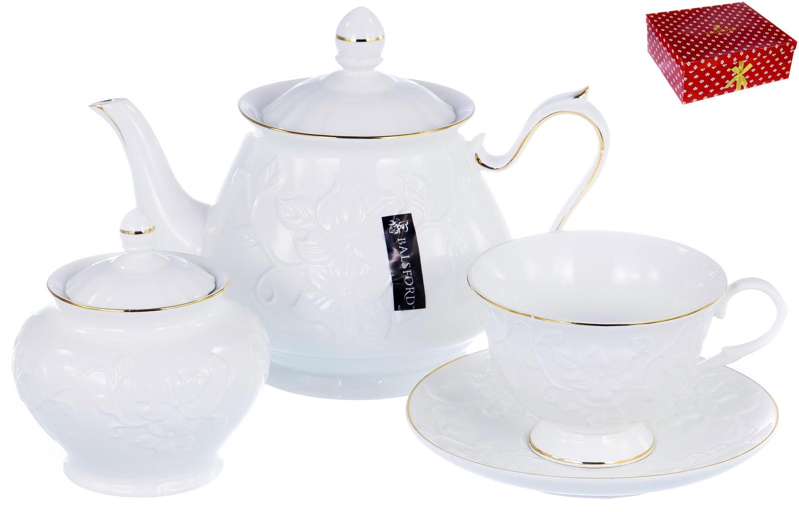 Набор чайный ГРАЦИЯ, серия Агава, 6 чашек 220мл, 6 блюдец,чайник с крышкой 1000мл, сахарница с крышкой 400мл, NEW BONE CHINA, белый рельефный рисунок с золотом, прямоугольная подарочная упаковка с окном и бантом, ТМ Balsford, артикул 101-30015