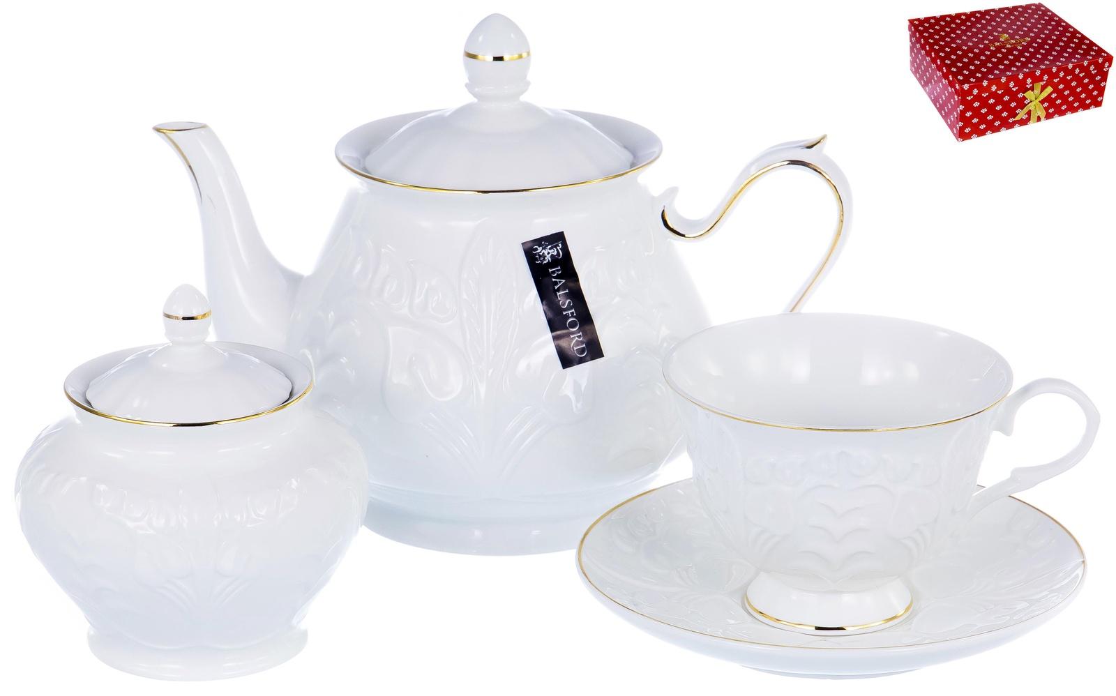 Набор чайный ГРАЦИЯ, серия Актея, 6 чашек 220мл, 6 блюдец,чайник с крышкой 1000мл, сахарница с крышкой 400мл, NEW BONE CHINA, белый рельефный рисунок с золотом, прямоугольная подарочная упаковка с окном и бантом, ТМ Balsford, артикул 101-30014