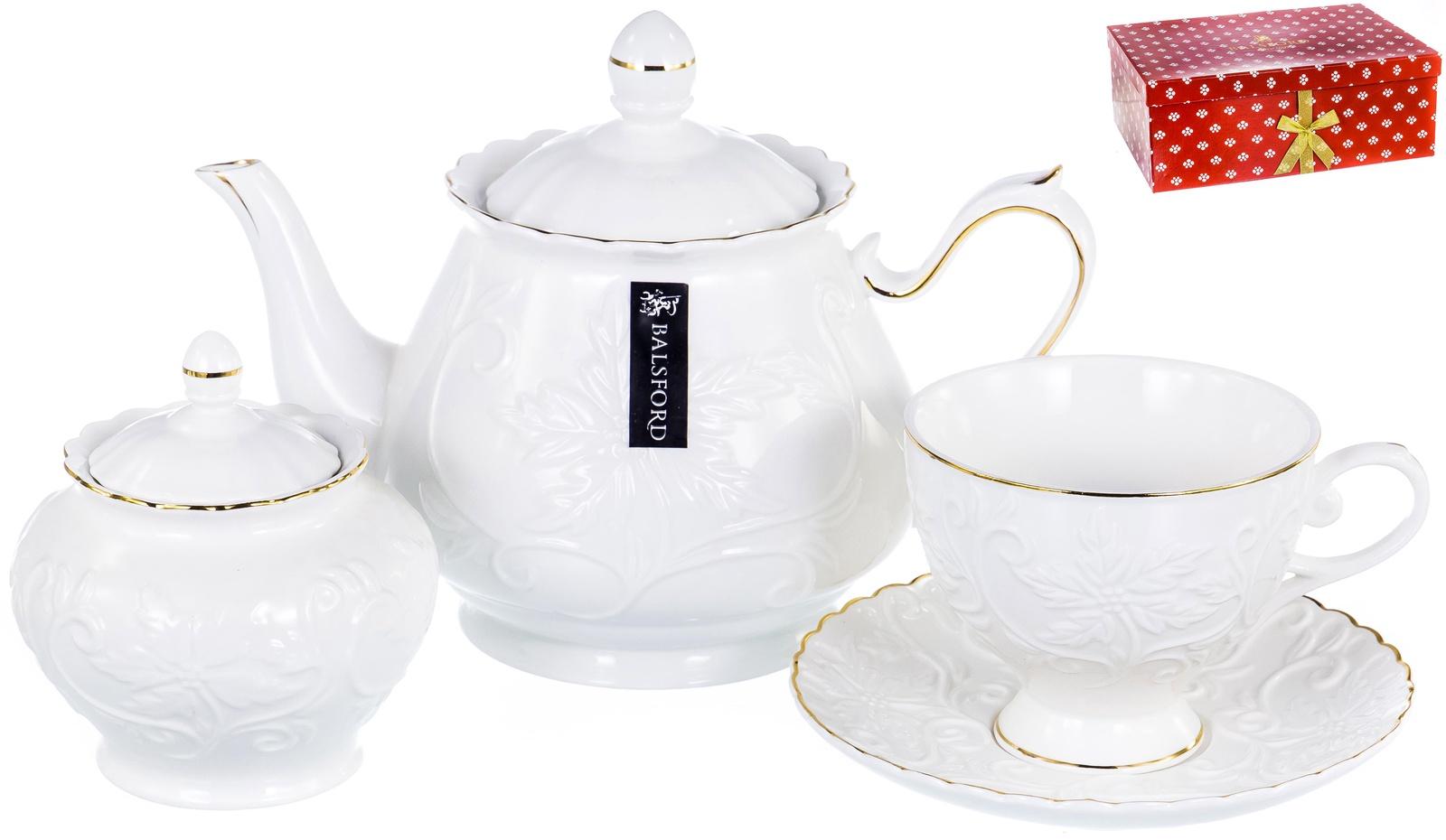 Набор чайный ГРАЦИЯ, серия Лисиа, 6 чашек 220мл, 6 блюдец,чайник с крышкой 1000мл, сахарница с крышкой 400мл, NEW BONE CHINA, белый рельефный рисунок с золотом, прямоугольная подарочная упаковка с окном и бантом, ТМ Balsford, артикул 101-30036