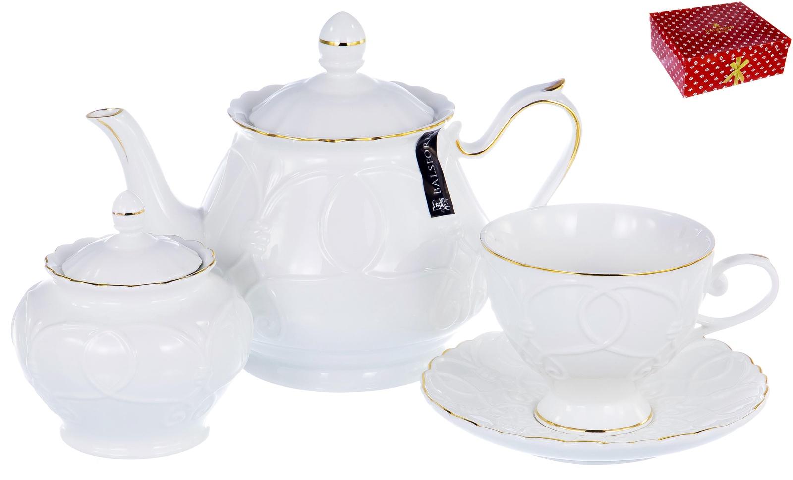 Набор чайный, ГРАЦИЯ, серия Клио, 6 чашек 220мл, 6 блюдец,чайник с крышкой 1000мл, сахарница с крышкой 400мл, NEW BONE CHINA, белый рельефный рисунок с золотом, прямоугольная подарочная упаковка с окном и бантом, ТМ Balsford, артикул 101-30039