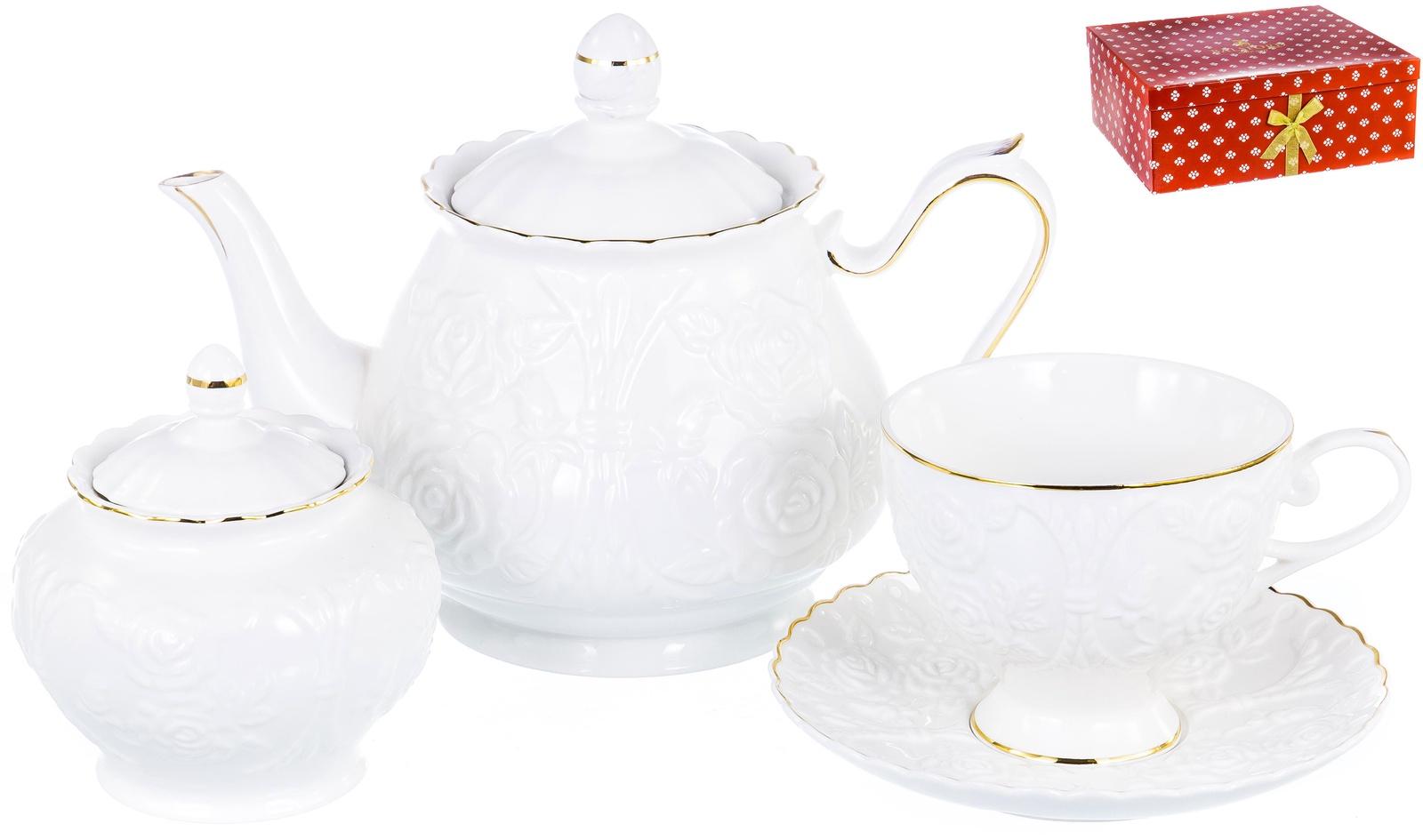 Набор чайный ГРАЦИЯ, серия Насса, 6 чашек 220мл, 6 блюдец,чайник с крышкой 1000мл, сахарница с крышкой 400мл, NEW BONE CHINA, белый рельефный рисунок с золотом, прямоугольная подарочная упаковка с окном и бантом, ТМ Balsford, артикул 101-30038