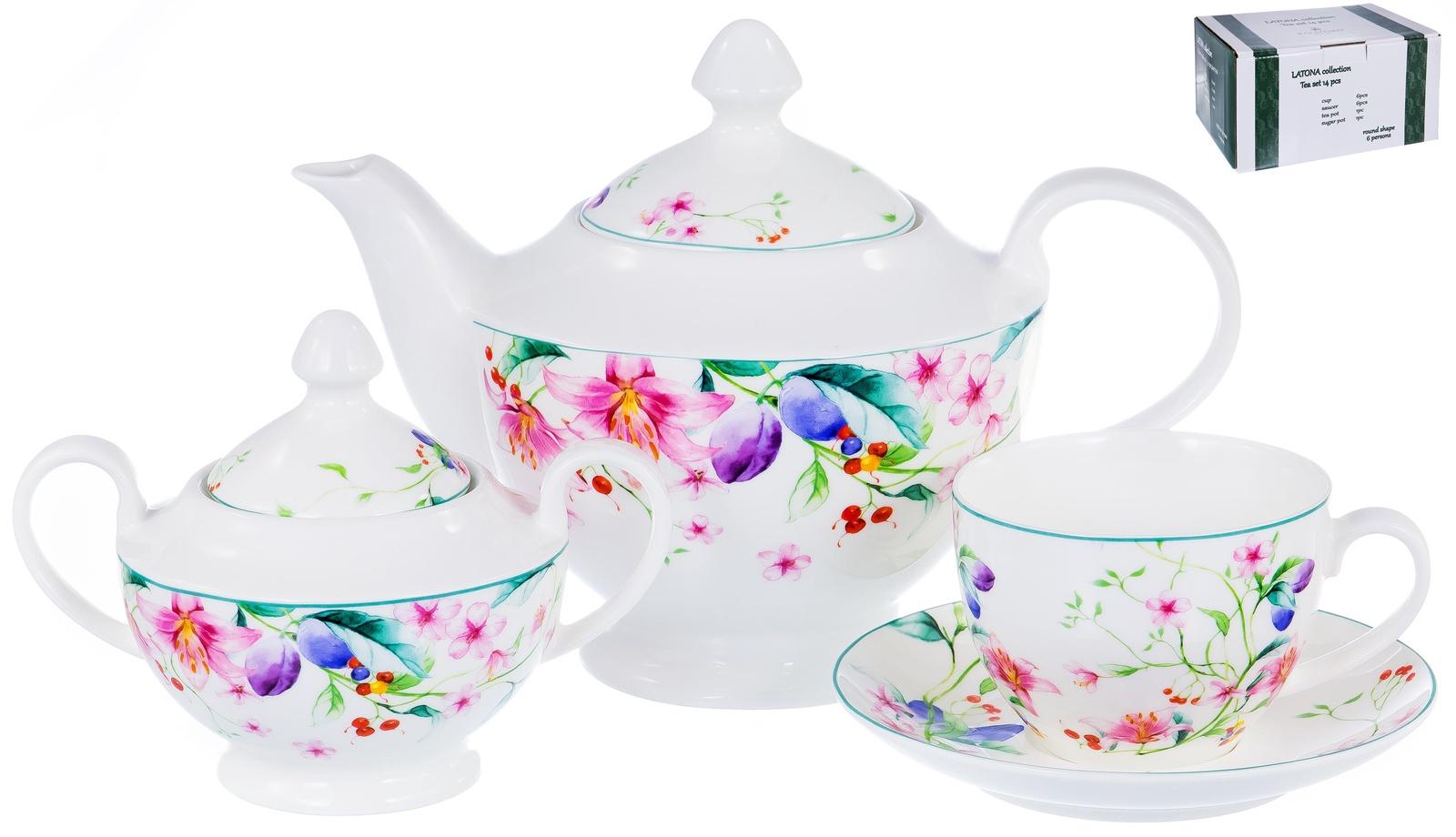 Набор чайный ЛАТОНА, серия Ароматный мир, 6 чашек 300мл, 6 блюдец , чайник 1200мл с крышкой, сахарница 470 мл с крышкой, NEW BONE CHINA, декор - цветочный орнамент, цветная упаковка, ТМ Balsford, артикул 104-03006