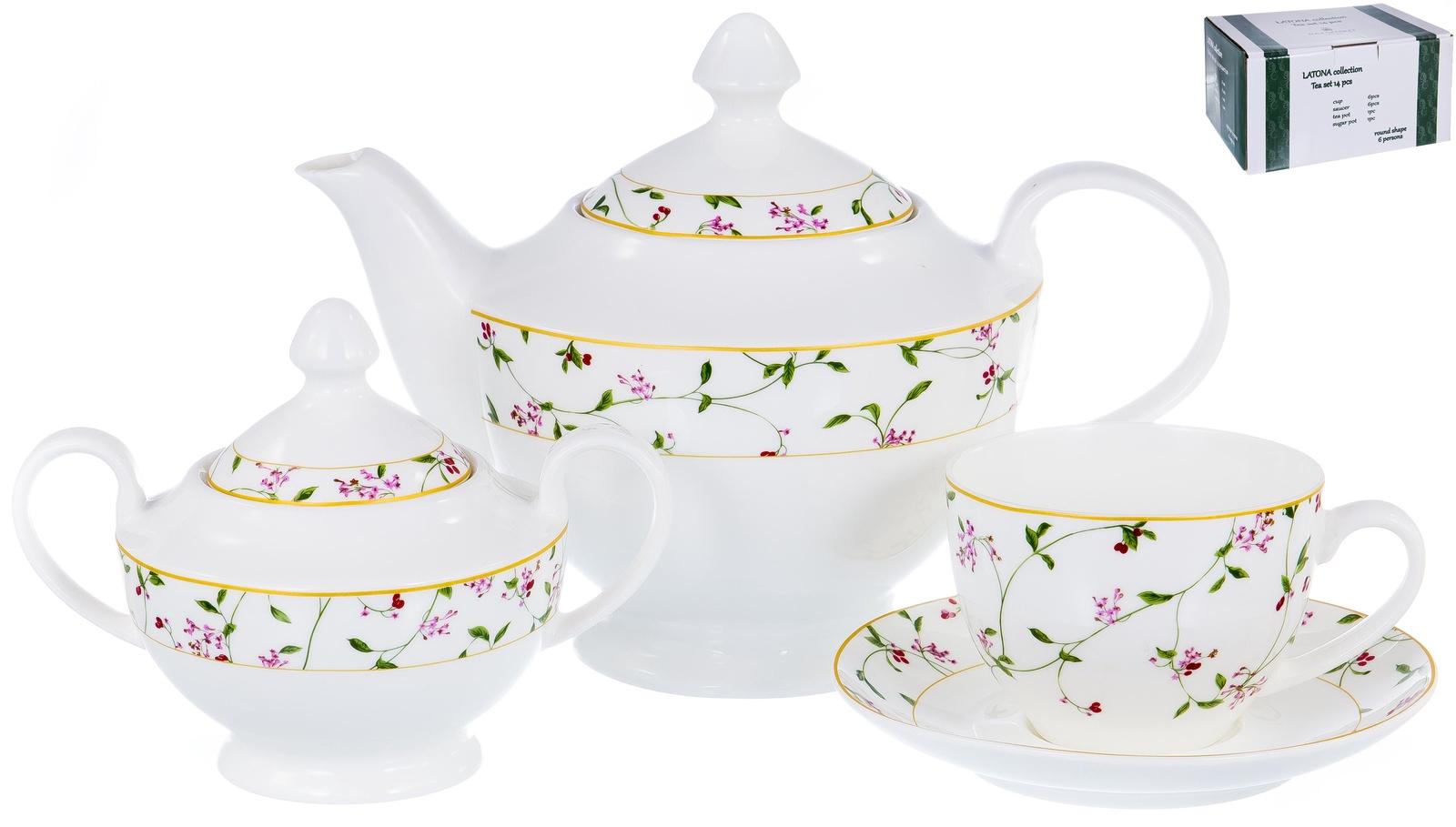 Набор чайный ЛАТОНА, серия Великолепный день, 6 чашек 300мл, 6 блюдец , чайник 1200мл с крышкой, сахарница 470 мл с крышкой, NEW BONE CHINA, декор - цветочный орнамент, цветная упаковка,ТМ Balsford, артикул 104-03013