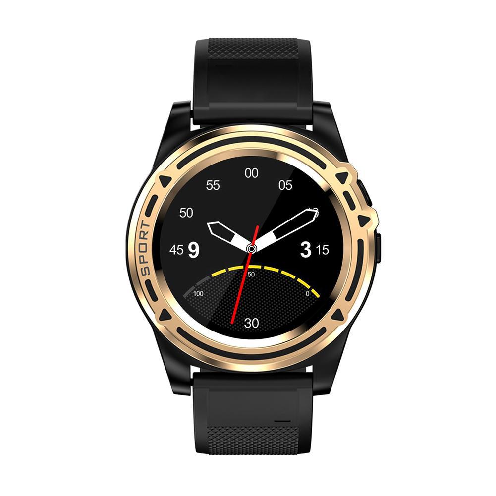 LYNWO DT18 Bluetooth Phone Watch Sports Tracker Health Monitor Watch (Gold)