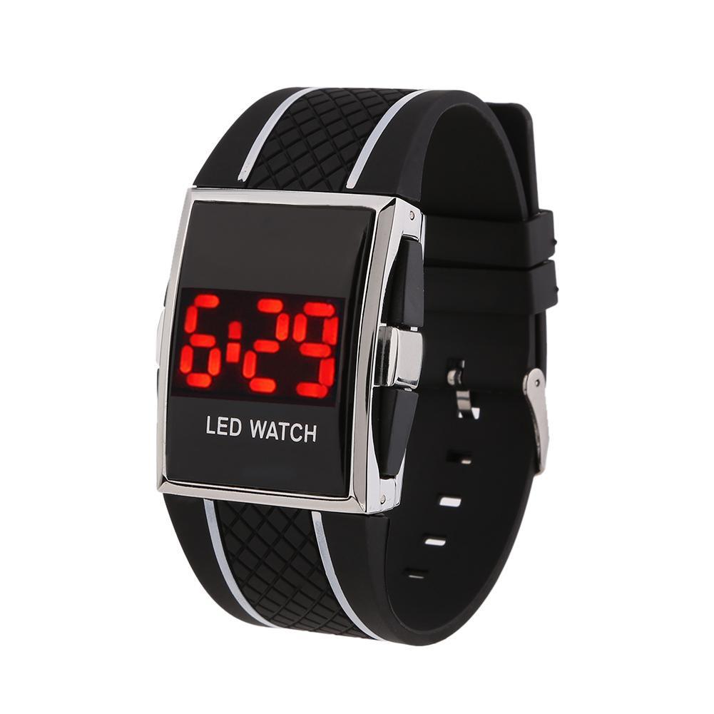 лучшая цена Светодиодный цифровой Дата Календарь Спорт Электронные Унисекс Часы наручные (черный + белый)
