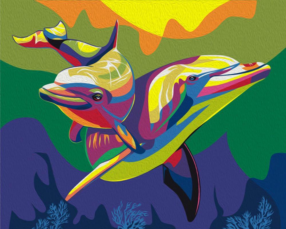 Картина по номерам Артвентура Радужные дельфины 40х50см раскраска по номерам радужные дельфины