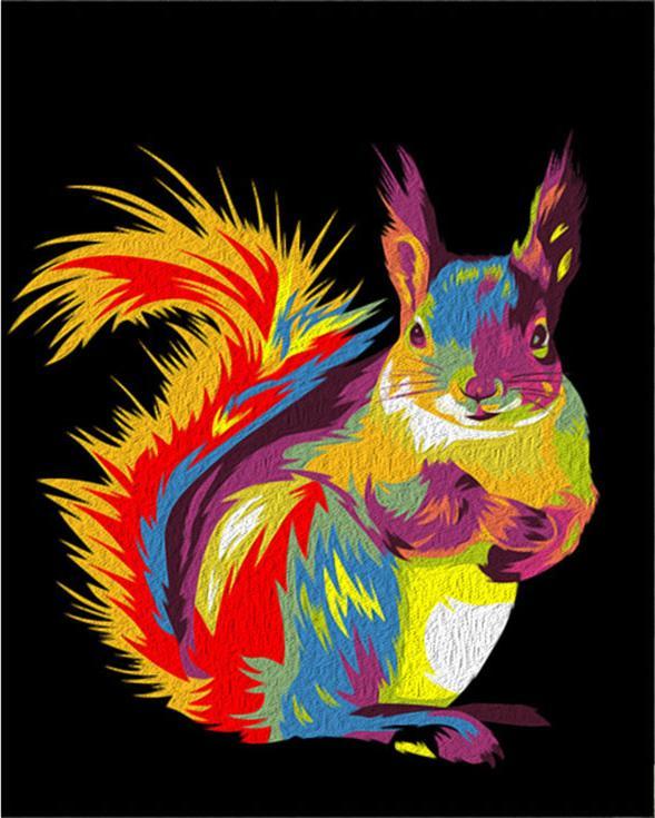 Картина по номерам Артвентура Радужная белка 40х50см картина белка и 8е марта