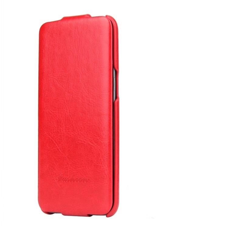 Чехол-флип MyPads для Samsung Galaxy S8 Plus SM-G955 вертикальный откидной красный из натуральной кожи