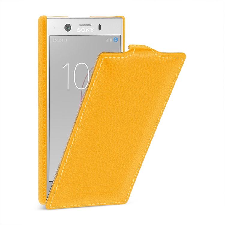 Чехол-флип MyPads для Sony Xperia XZ1 Compact G8441 4.6 вертикальный откидной желтый из натуральной кожи