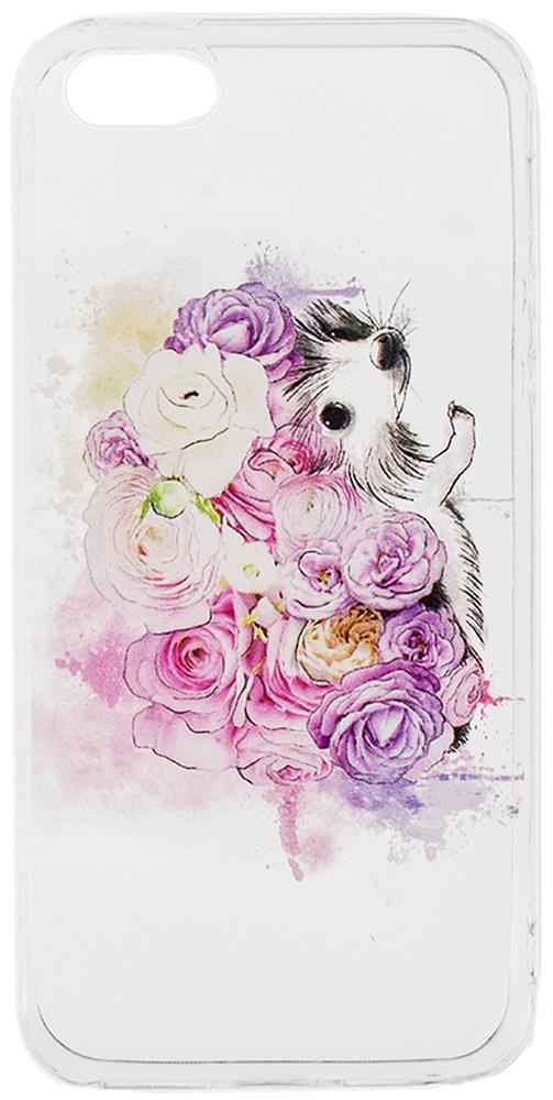 Чехол для мобильного телефона Alessandro Frenza Ежик в цветах, пластм. прозр. (для 5/5s) чехол для айфона 5 5s лиса и ворона