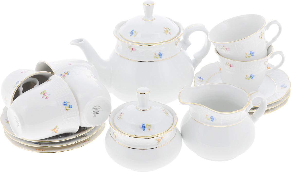 Чайный сервиз Мелкие цветы, отводка золото Natalie, на 6 персон, 17 предметов
