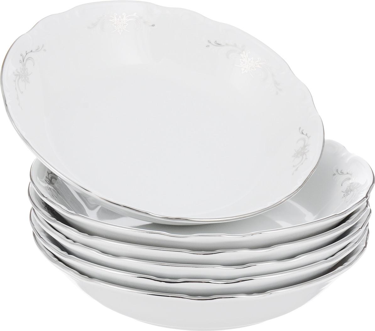 Тарелка глубокая Серый орнамент, отводка платина Constance Coupsoup, 19 см