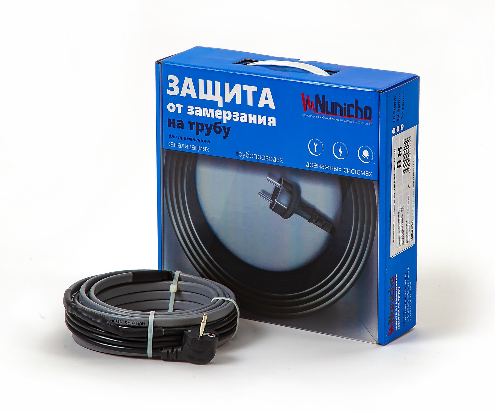 Готовый комплект греющего саморегулирующегося кабеля на трубу NUNICHO 30 Вт/м 6 метров Nunicho