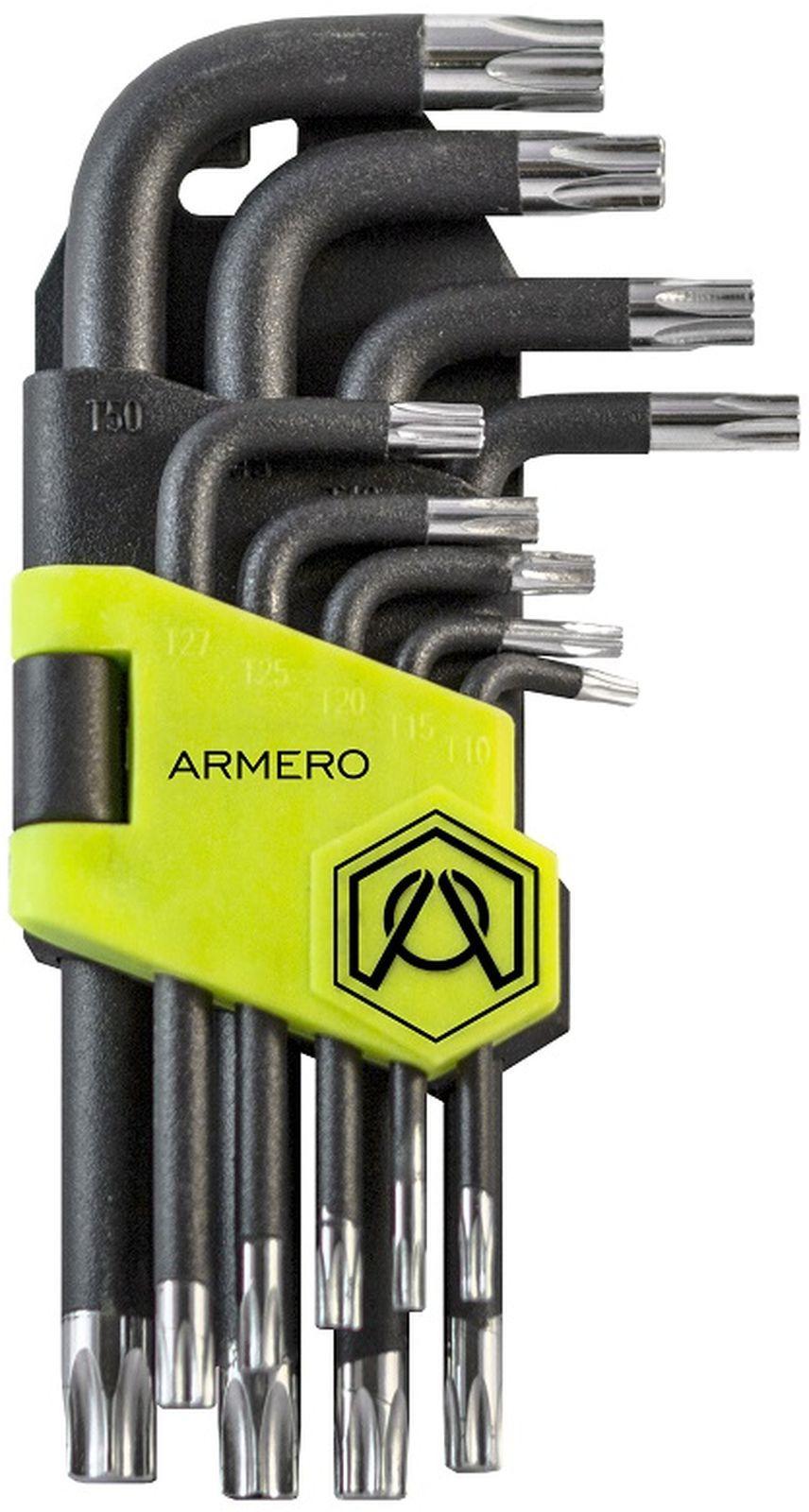 Набор ключей Armero Torx, CrV, короткие, 9 шт ключ torx t27 угловой aist 154227tt