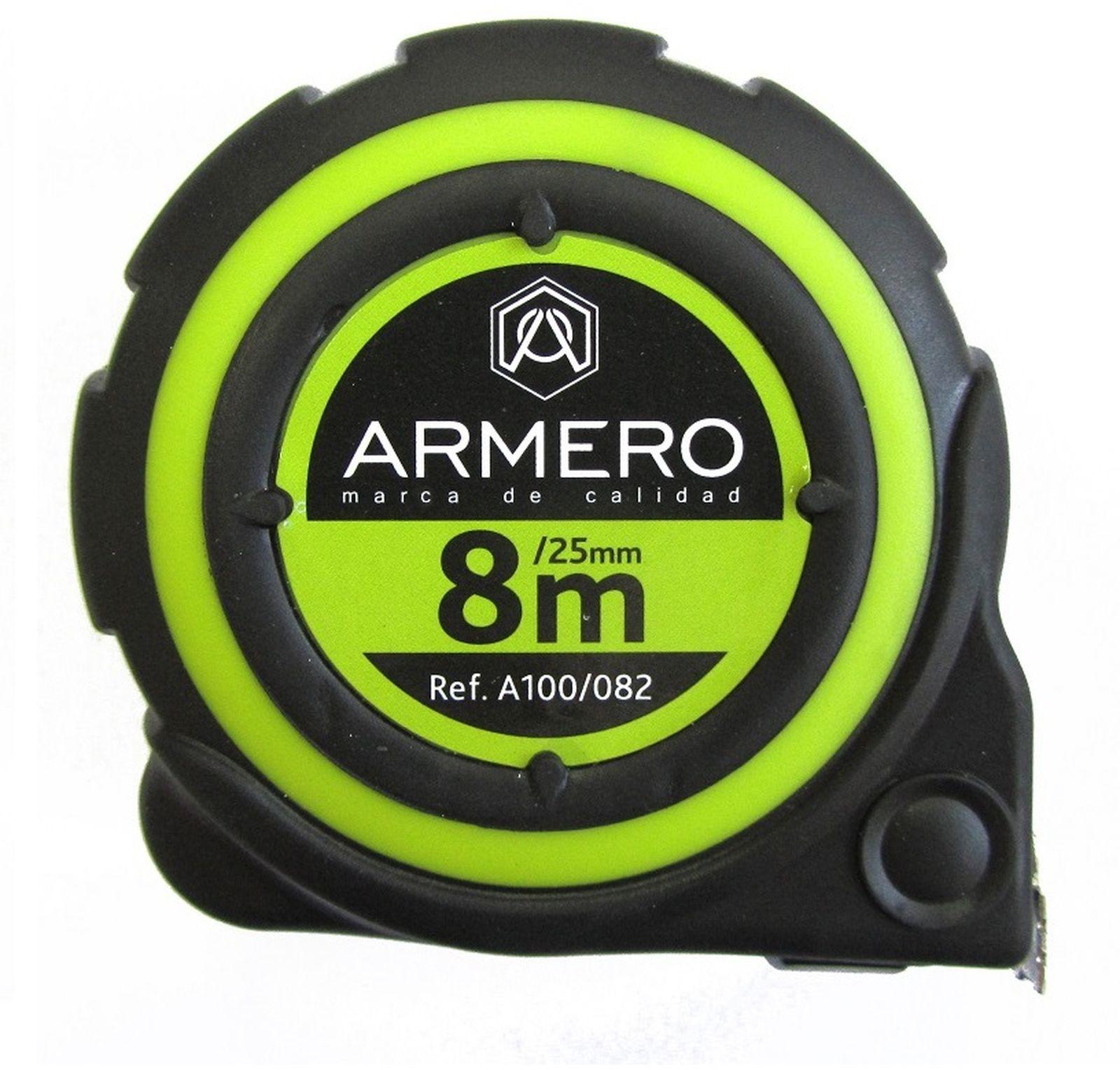 Рулетка с автоблокировкой Armero, магнит, нейлон, 25 мм х 8 м