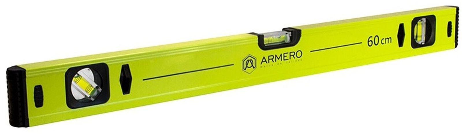 Уровень алюминиевый Armero, 3 глазка, магнит, 40 см