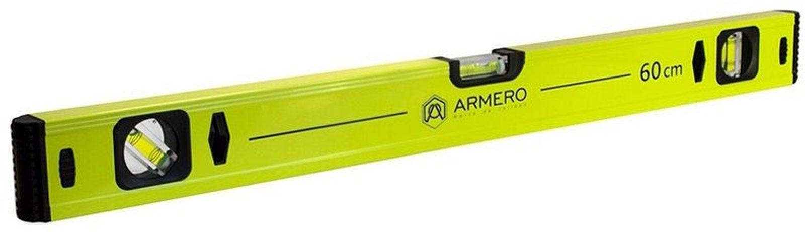 Уровень алюминиевый Armero, 3 глазка, магнит, 60 см