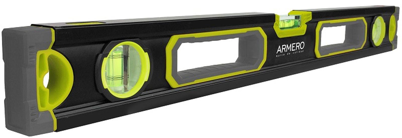 Уровень алюминиевый Armero, усиленный, 3 глазка, магнит, 60 см