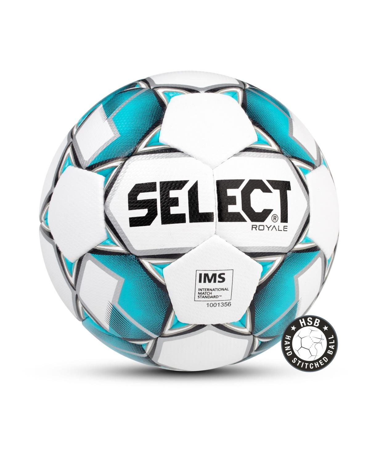 Мяч футбольный Select Royale 814117 IMS, Размер 5, белый/синий (5)