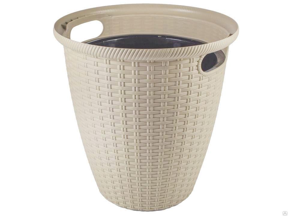 Кашпо с горшком напольное для комнатных и уличных садовых растений, цветов из пластика 32,8 на 32,8 на 33 см, объем 20 литров с внутренним горшком на 11 литров, дренаж, молочный светло бежевый, пластик твердый