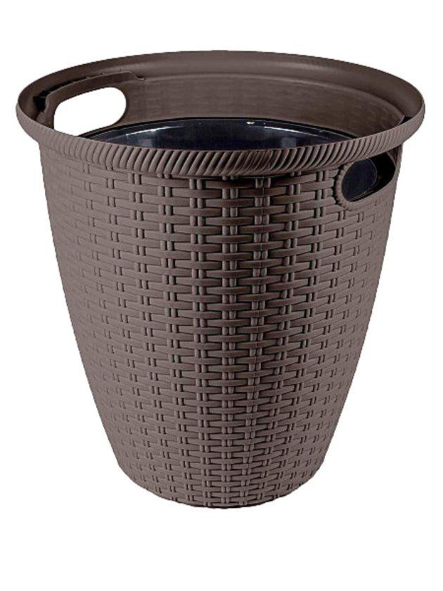 Кашпо с горшком напольное для комнатных и уличных садовых растений, цветов, пластик, 32,8 на 32,8 на 33 см, объем 20 литров с внутренним горшком на 11 литров, дренаж, цвет коричневый