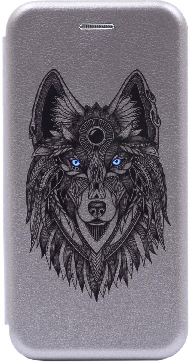 Чехол-книжка Book Art Jack Grand Wolf для Huawei Y6 (2019) / Honor 8A серый GOSSO CASES