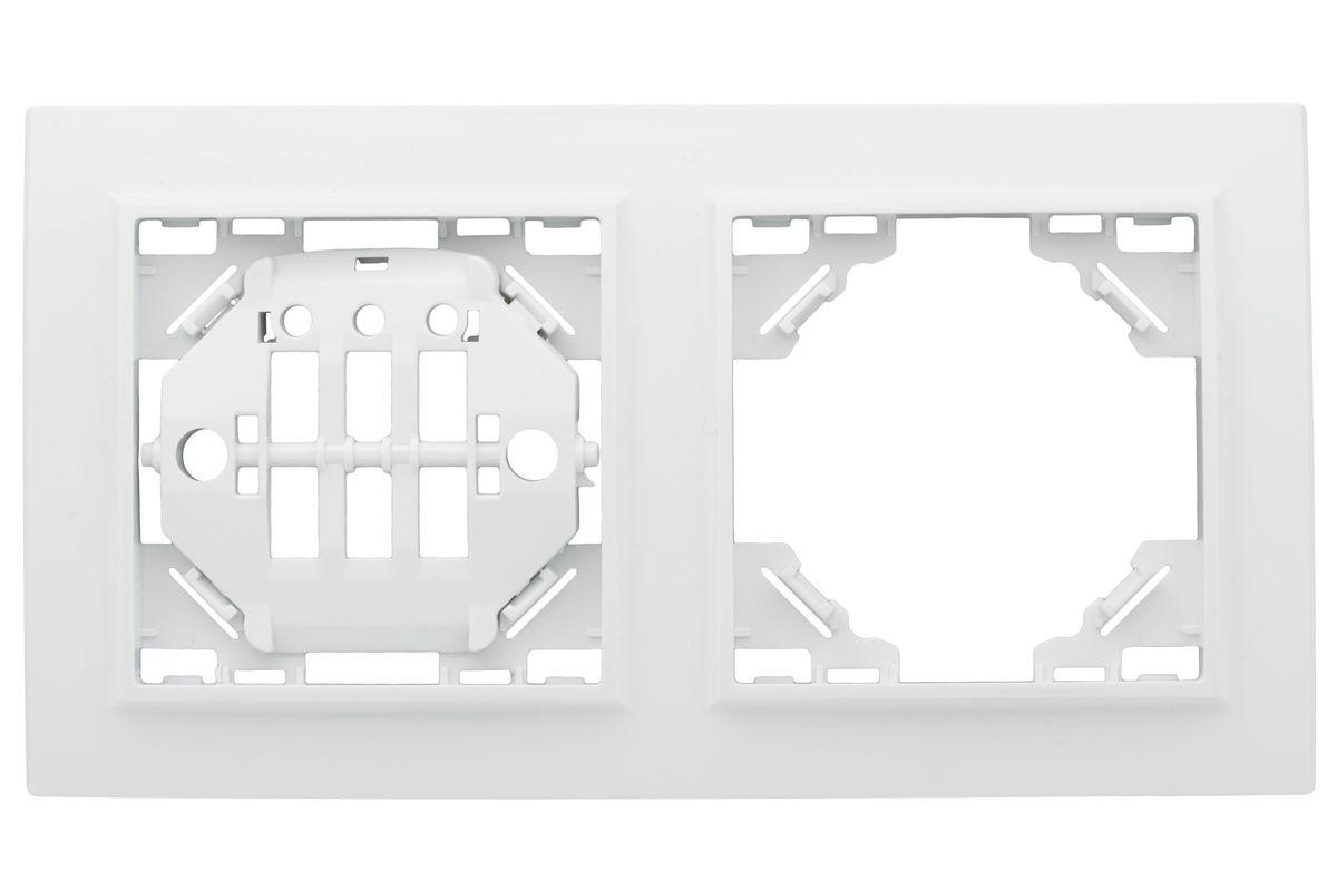 цена на Рамка электроустановочная EKF Basic Минск, горизонтальная, ERM-G-302-10, белый, на 2 поста