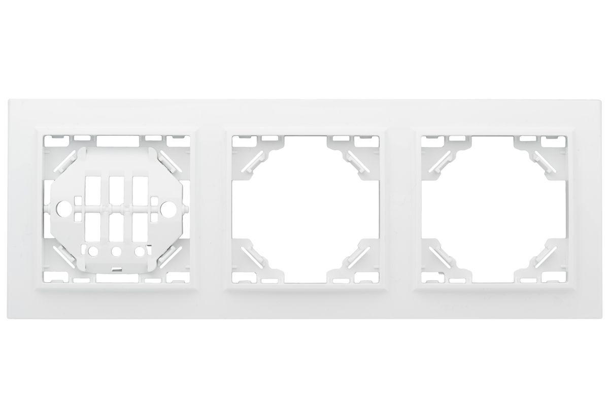 цена на Рамка электроустановочная EKF Basic Минск, горизонтальная, ERM-G-303-10, белый, на 3 поста