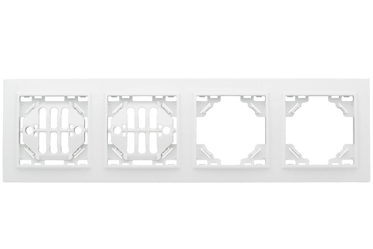 цена на Рамка электроустановочная EKF Basic Минск, горизонтальная, ERM-G-304-10, белый, на 4 поста