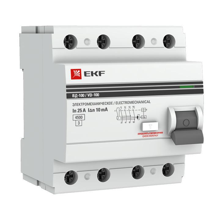 Выключатель дифференциального тока EKF PROxima ВД-100, 4п 40А 30мА тип AC, elcb-4-40-30-em-pro, серый