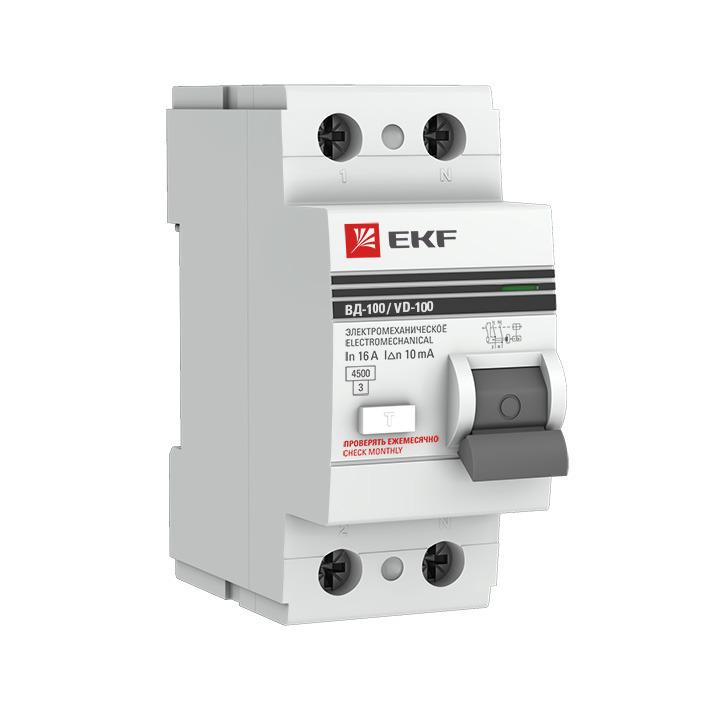 Выключатель дифференциального тока EKF PROxima ВД-100, 2п 63А 100мА тип AC, elcb-2-63-100-em-pro, серый авдт 63 2p c40 100ма tdm sq0202 0008 автоматический выключатель дифференциального тока