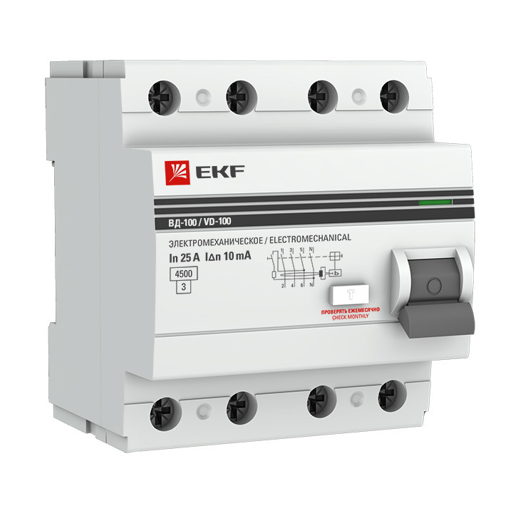 Выключатель дифференциального тока EKF PROxima ВД-100, 4п 25А 30мА тип AC, elcb-4-25-30-em-pro, серый