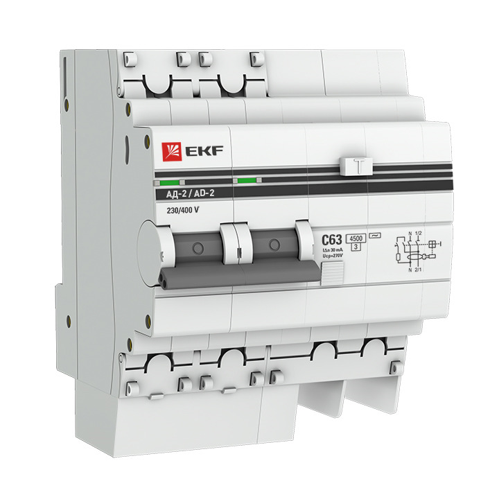 Дифференциальный автомат EKF PROxima АД-2, 2п 4мод. C 10А 30мА тип AC 4.5кА, DA2-10-30-pro, серый дифференциальный автомат tdm ад 2 2п 16 а 30 ма sq0221 0001