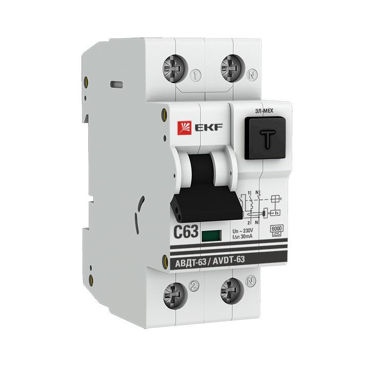 Дифференциальный автомат EKF PROxima АВДТ-63, 1P+N 2мод. С 63А 100мА 6кА, DA63-63-100e, серый авдт 63 2p c40 100ма tdm sq0202 0008 автоматический выключатель дифференциального тока