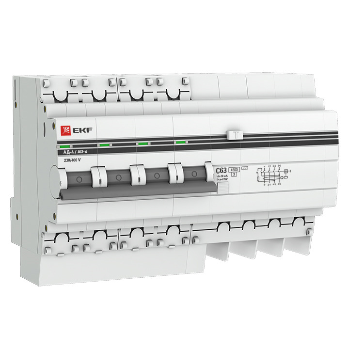 Дифференциальный автомат EKF PROxima АД-4, 4п 7.5мод. C 25А 30мА тип AC 4.5кА, DA4-25-30-pro, серый
