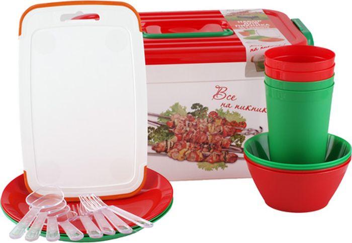 Набор для пикника Полимербыт, белый, красный, зеленый, на 4 персоны, 22 предмета набор для пикника полимербыт 4380960 4380960 оранжевый