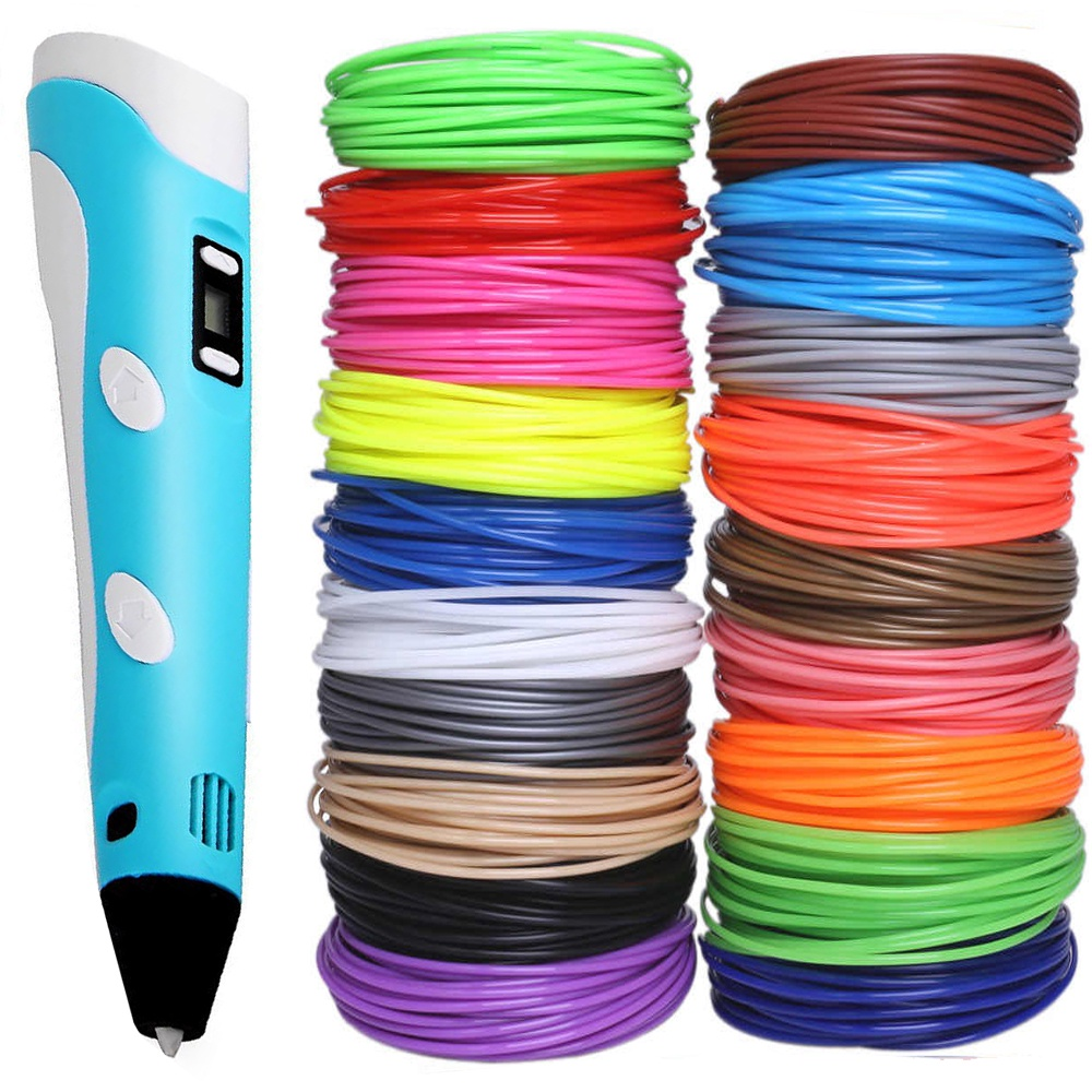 3D ручка и 20 рулонов PLA пластика по 10м для 3д ручек в комплекте - набор для кухни 3д