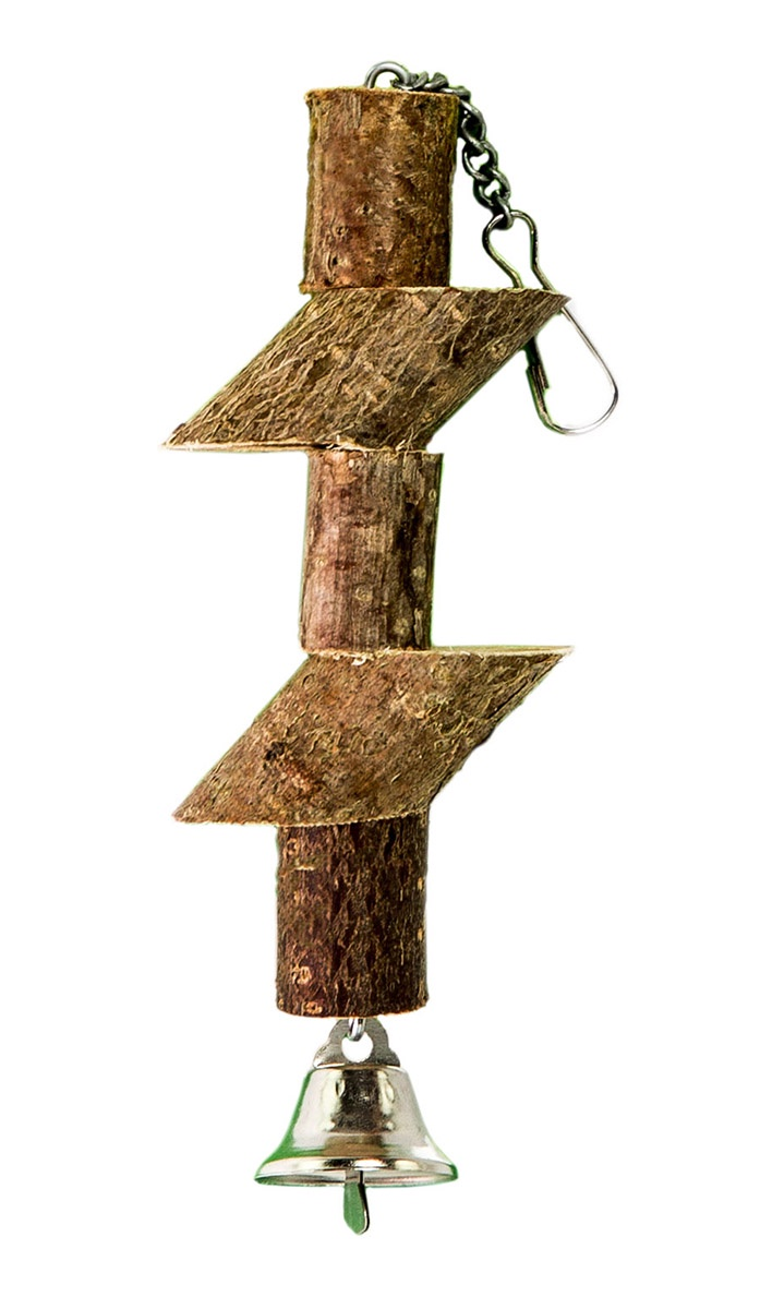 Игрушка для птиц Брусочки с колоколом zoobaloo игрушка для птиц кольцо сизаль с колокольчиком 15см
