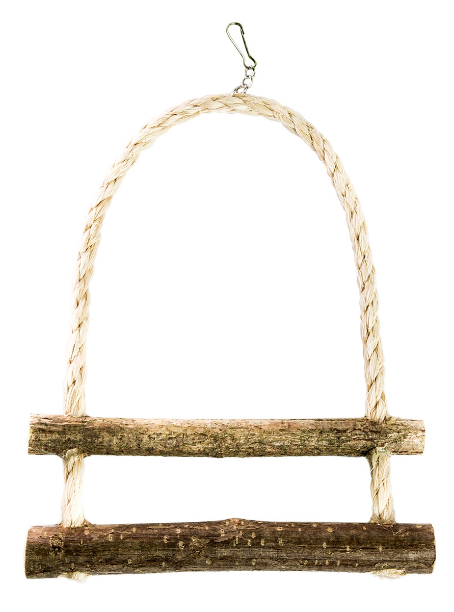 Лесенка для птиц, две ступеньки zoobaloo игрушка для птиц кольцо сизаль с колокольчиком 15см